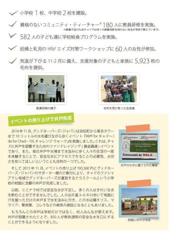 2015年の活動の成果