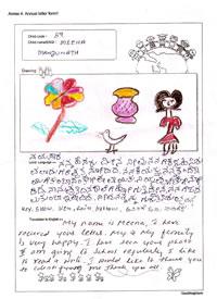 インドのミーナちゃんからのイラスト付きのお返事