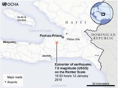 ハイチ地震の震源地