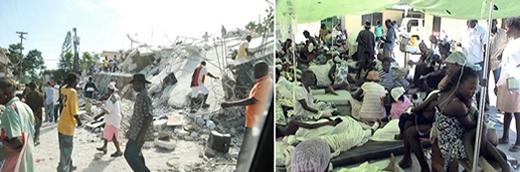 ハイチの街中と病院